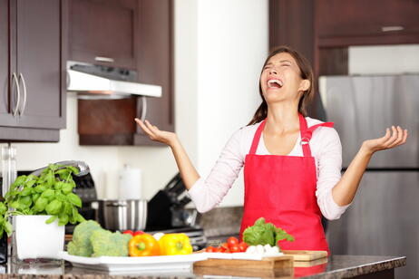 Woman Screaming in Kitchen